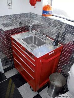 A toolbox turned sink for your man cave. Amazing! Right?