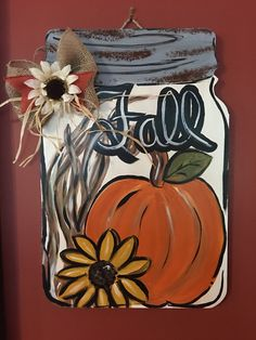 Fall Rustic Mason Jar Door Hanger Excited to share this item from my etsy shop Fall Rustic Mason Jar Door Hanger Fall Mason Jars, Rustic Mason Jars, Mason Jar Crafts, Mason Jar Diy, Fall Door Hangers, Burlap Door Hangers, Metal Hangers, Wooden Hangers, Autumn Painting