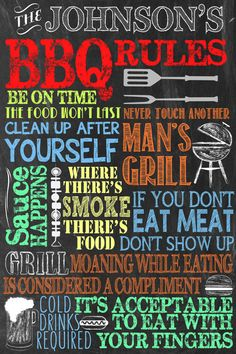 Custom Bbq Sign Perfect For Fathers Day Gift Chalkboard