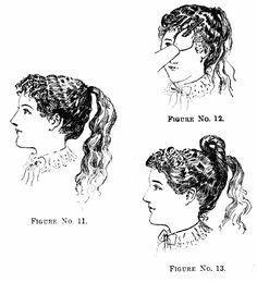 1894 Delineator- Newport Knot hairstyle with curled, frizzed bangs
