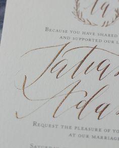 Kelsey Malie Calligraphy Gold Calligraphy Wedding Invitations
