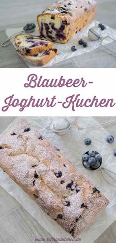 Quick blueberry yogurt cake - Schnin& Kitchen - Blueberry yoghurt cake – beautifully juicy, fluffy and simply delicious. With fresh blueberries and yogurt – a very easy, simple and quick recipe for sponge cakes with berries – everyone loves it. Quick Recipes, Keto Recipes, Cake Thermomix, Blueberry Yogurt Cake, Nutella, A Food, Food And Drink, Sponge Cake Recipes, Food Cakes