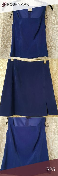 2 Piece Set; S-zip back top, XS-skirt, NEVER WORN Royal blue S-top  with matching XS-mini skirt side split Other