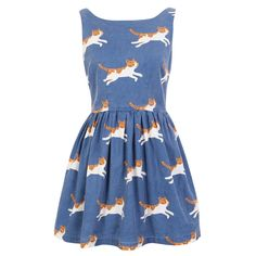 Running Cat Cute Retro Sundress ($38) ❤ liked on Polyvore featuring dresses