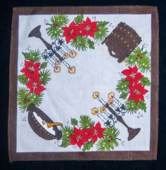 Vintage Christmas Tablecloth Doily Swedish Norwegian Tine Porridge Holly