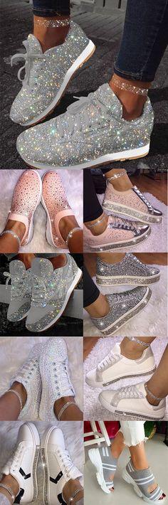 Women Muffin Rhinestone New Crystal Platform Sneakers, Hot Sale!Women Muffin Rhinestone New Crystal Platform Sneakers, Sneakers Mode, Sneakers Fashion, Fashion Shoes, Fashion Outfits, Fashion Women, Shoes Sneakers, Cute Shoes, Me Too Shoes, 80s Theme Party Outfits