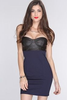 cute navy blue and black pleather dresses