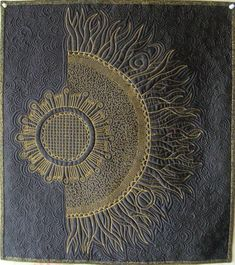 pearl-nautilus:  Sunflower - art quilt wall hanging source: