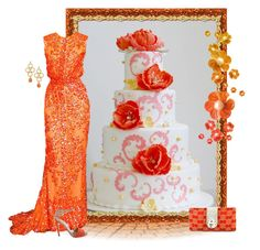 """Orange sparkle wedding"" by ida-mccosh ❤ liked on Polyvore featuring Elie Saab, Gucci and Liz Palacios"