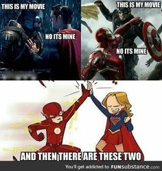 Flash and Supergirl know how to get along - Marvel Marvel Jokes, Funny Marvel Memes, Dc Memes, Funny Memes, Dc Comics Funny, It's Funny, Marvel Versus Dc, Marvel Vs, Marvel Comics