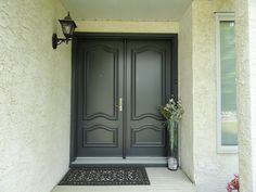 Graphite coloured double entry doors with Noblesse Panels.