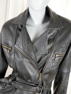 Black Leather Jacket, Women's 1980s Vintage Leather Rocker Jacket, Zippered, Belted, Super Stylish Biker Chic Leather: Size 8 US, Size 12 UK by YouLookAmazing on Etsy