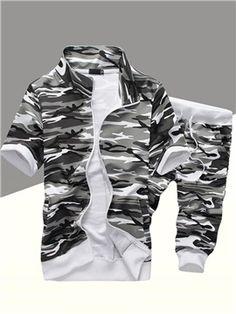 Camouflage Short Sleeve Zip Men s Sports Suit Best Suits For Men, Mens Suits,  Camo f48b22cc2aa