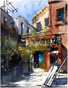Shady Courtyard - Rome Thomas W Schaller. Watercolor Sketch on Twinrocker 18x13 23 June 2015