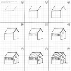 How to draw a house. Art Drawings For Kids, Doodle Drawings, Drawing For Kids, Easy Drawings, Doodle Art, Drawing Sketches, Children Sketch, Doodle Lettering, Learn Art