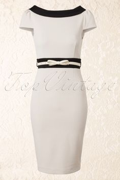 50s Cream and Black Pencil Dress with Bow Belt