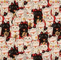 black light cream fortune cat Dobby fabric by Cosmo from Japan - Kawaii Fabric Shop Maneki Neko, Neko Cat, Crazy Cat Lady, Crazy Cats, I Love Cats, Cute Cats, Cats Wallpaper, Cat Pattern Wallpaper, Wallpaper Wallpapers