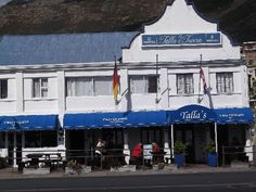 Talla's Tavern, Beach Road, Gordon's Bay in Cape Town. Table Mountain, Mountain Range, Beach Road, Afrikaans, Beach Cottages, Cape Town, Amazing Places, South Africa, Holland