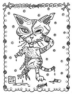 5 Pages Fantasy Cats Instant Downloads Scarry Halloween Coloring Adult