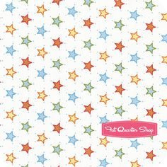 Nursery Fabric: Fatquartershop.com - Outer Space by Vita Mechachonis for Camelot Cottons - White Stars SKU# 1140206-02 $10.75