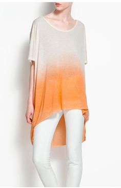 Gradient Yellow Grey Loose Short-sleeve Shirt