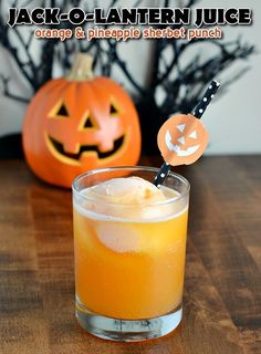 Jack O Lantern Juice Orange Pineapple Sherbet Punch for Halloween