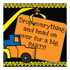 Customizable birthday invitations with a construction vehicle theme, great for kids who love big trucks, cranes, and bulldozers! You can easily add your child's birthday party specifics before ordering. #birthday #truck #dump #truck #crane #bulldozer #end #loader #big #trucks #construction #vehicles #construction #theme #kids #birthday #boys #children #colorful #cute #peacockcards