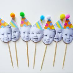 Personalised Face, Happy Heads, Cocktail Stick, 12 Cupcake Toppers with Pom Pom Party Hats, Pastel Brights First Birthday Cupcakes, Boys 1st Birthday Party Ideas, Boy First Birthday, First Birthday Parties, First Birthdays, Baby Birthday Themes, Simple First Birthday, 80 Birthday, Colorful Birthday Party