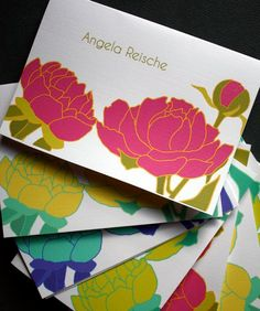 Personalized Floral Stationery Note Cards Peonies by pigeonpaperie, $16.00