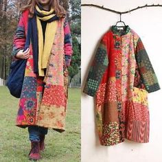Details about Vintage Women Qipao Chinese Traditional Button Floral Long Quilted Coat Jackets – Women Fashion Long Quilted Coat, Quilted Jacket, Quilted Coats, Fashion Mode, Retro Fashion, Boho Fashion, Winter Coats Women, Coats For Women, Look Boho Chic