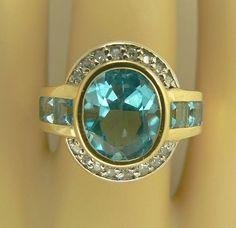 14k Blue Topaz and Diamond Ring-Size 7.