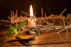 Hope with Easter. Candle burning in a crown of thorns at Easter , Holy Saturday, Holy Thursday, Ash Wednesday, Easter Service, Crown Of Thorns, Palm Sunday, Holy Week, Good Friday, Burning Candle