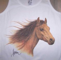 Horse Head Ladies' White Tank Top