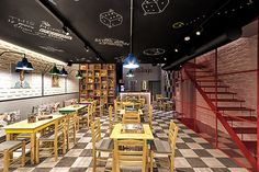 I enjoy the layout of this location. Alaloum Board Game Cafe by Triopton Architects, Athens - Greece