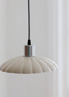 Lyon Pendant Light - Cream Coloured Rustic Inside Lamp