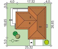Projekt domu Aksamit 4 - usytuowanie na działce House On A Hill, Design Case, House Plans, Projects To Try, Floor Plans, House Design, How To Plan, Architecture, Bungalows