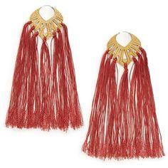 Garnet Brass Tassel Elizabeth Earrings (4,695 MXN) ❤ liked on Polyvore featuring jewelry, earrings, boho earrings, bohemian earrings, earring jewelry, tassel jewelry and bohemian garnet earrings