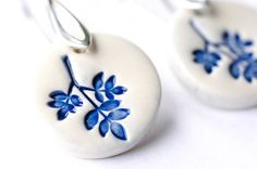 Sterling Silver Ceramic Leaves Earrings