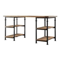 Myra Vintage Industrial Modern Rustic 3-piece Desk Bookcase Set by... ($781) ❤ liked on Polyvore featuring home, furniture, desks, colored furniture, shelf desk, book-shelf, shelving furniture and book shelves