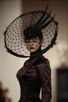 725039 Philip Treacy Black Feathers And Lace Hat A4 Photo Print