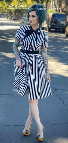 """Repost · @thecherrydollface · That moment you discover your dress has pockets. Is there anything more magical in the world? I think NOT. And then, of course, you must tell everyone who tells you your dress is cute. """"Thanks! It has POCKETS!"""" Get this dress with 20% off by using the code CherryDollface at checkout! #pinup #pinupinspiration #vintage #vintageinspiration #stripes Rockabilly Style, Rockabilly Fashion, Only Fashion, Girl Fashion, Burlesque Dress, Corsets Online, 1950s Clothes, Plus Size Corset, 1950s Outfits"""