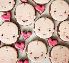 Galletas - Cookies - You got the cutest Lil Baby Face! Fancy Cookies, Sweet Cookies, Iced Cookies, Biscuit Cookies, Cute Cookies, Royal Icing Cookies, Cupcake Cookies, Sugar Cookies, Cookie Favors