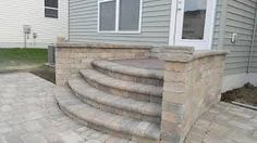 Paver steps with side walls added for safety. Front Door Steps, Porch Steps, Front Doors, Brick Steps, Wood Steps, Patio Stairs, Porch Kits, Outdoor Steps, Building A Porch