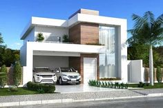 This two-storey house plan has a clean facade that mixes with the wood, glass, and white paint. The landscaping and the lighting is made simple Modern House Facades, Modern Architecture House, Modern House Plans, Minimalist Architecture, Architecture Design, Villa Design, Facade Design, Minimalist House Design, Modern House Design