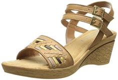 Bella Vita Made in Italy Womens Padova Wedge Sandal Tan Multi 65 W US -- Click image to review more details.