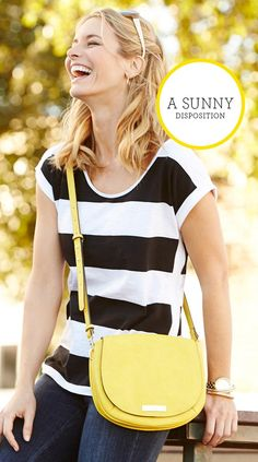A yellow crossbody pairs perfectly with a casual striped tee and favorite fitted denim.