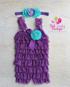 Purple petti lace romper and headband 3 pc SET, Baby girl 1st birthday outfit, Under the Sea Birthday, Baby romper, Cake Smash Outfit on Etsy, $34.99