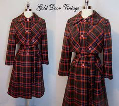 Lilli Ann Plaid Knit Coat