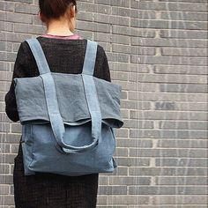 Bag - New Fashion Mixed Color Backpack&shoulder Bag(linen Material)