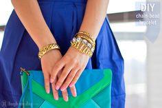 Gold Pearl Bead & Chain Bracelet DIY  #diy #highondiy #diyfashion #diyjewelry #accessories